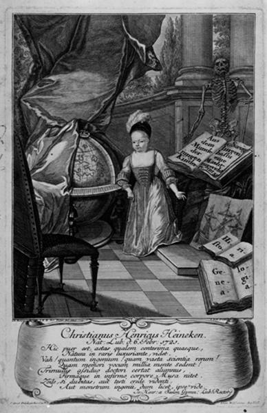 Johann Balthasar Probst: Stich vonChristian Heinrich Heineken (1721–1725), bekannt unter dem Namen »Lübecker Wunderkind« (1724)