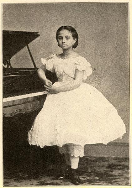Teresa Carreño im Alter von acht Jahren am Flügel (etwa 1845)