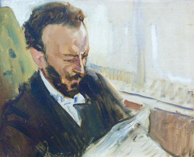 Max Slevogt,Der Sänger Francisco d'Andrade, Zeitung lesend