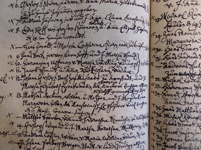 »Mein ganzer Stolz«, sagt Hagedorn: Ein Auszug aus demOhrdruferTrauregister, bei Nr12: Johann Christoph Bach, einOnkel Johann Sebastians,und Martha Elisabeth Eisentraut, 29 April 1679