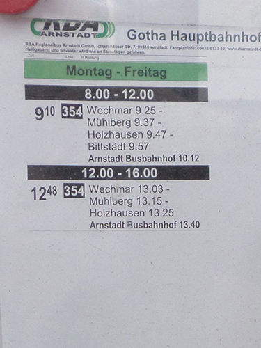 Busfahrplan mit einschlägigen Bach-Orten