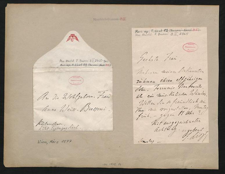 Franz Liszt: Brief an Anna Weiss-Busoni; März 1877 · FotoStaatsbibliothek zu Berlin – Musikabteilung mit Mendelssohn-Archiv·Weitere Informationen