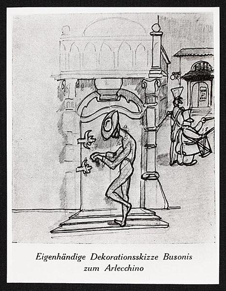 Eigenhändige Dekorationsskizze Busonis zum Arlecchino · FotoStaatsbibliothek zu Berlin – Musikabteilung mit Mendelssohn-Archiv· WeitereInformationen