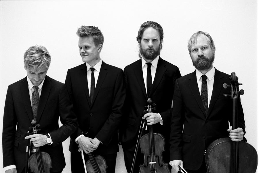 Von links: Rune Tonsgaard Sørensen (Geige), Frederik Øland (Geige), Asbjørn Nørgaard (Bratsche), Fredrik Sjölin (Cello)