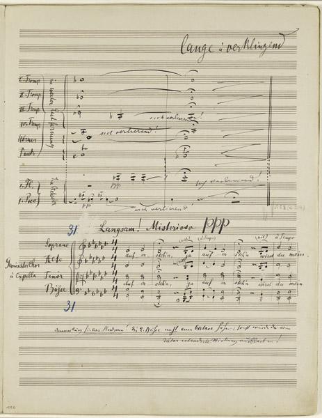 Eine Seite aus dem Manuskript von Mahlers 2. Sinfonie, 5. Satz, das am 29. November bei Sotheby's in London versteigert wird. © SOTHEBY'S