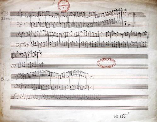 Die erste Komposition von Saint-Saëns, komponiert im Alter von dreieinhalb Jahren, am 22. März 1839.