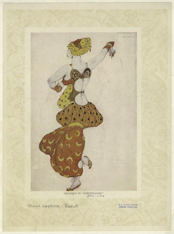 LÉON BAKST,ODALISQUE IN SCHeHeRAZADE(Kostümdesign, 1910–1916) •Bild NYPL