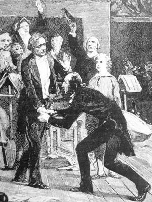 Auch Paganini warf sich Berlioz zu Füßen, hier nach dem Hören von Berlioz' SinfonieHarold en Italie.
