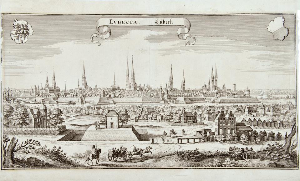 1704 reiste Händel nach Lübeck, um Buxtehude zu besuchen. Aus derselben Zeit stammt dieses Bild des Blicks auf die Stadt von Westen her •FotoStiftung Händel-Haus Halle (CC)