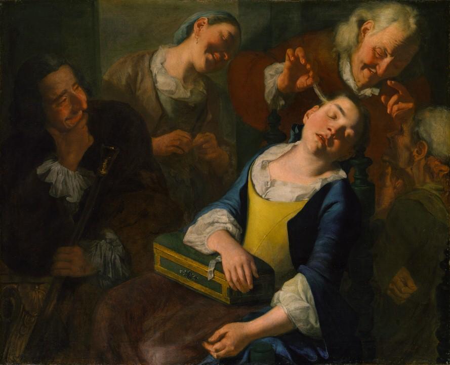 FotoTeasing a Sleeping Girl von Gaspare Traversi (Public Domain)