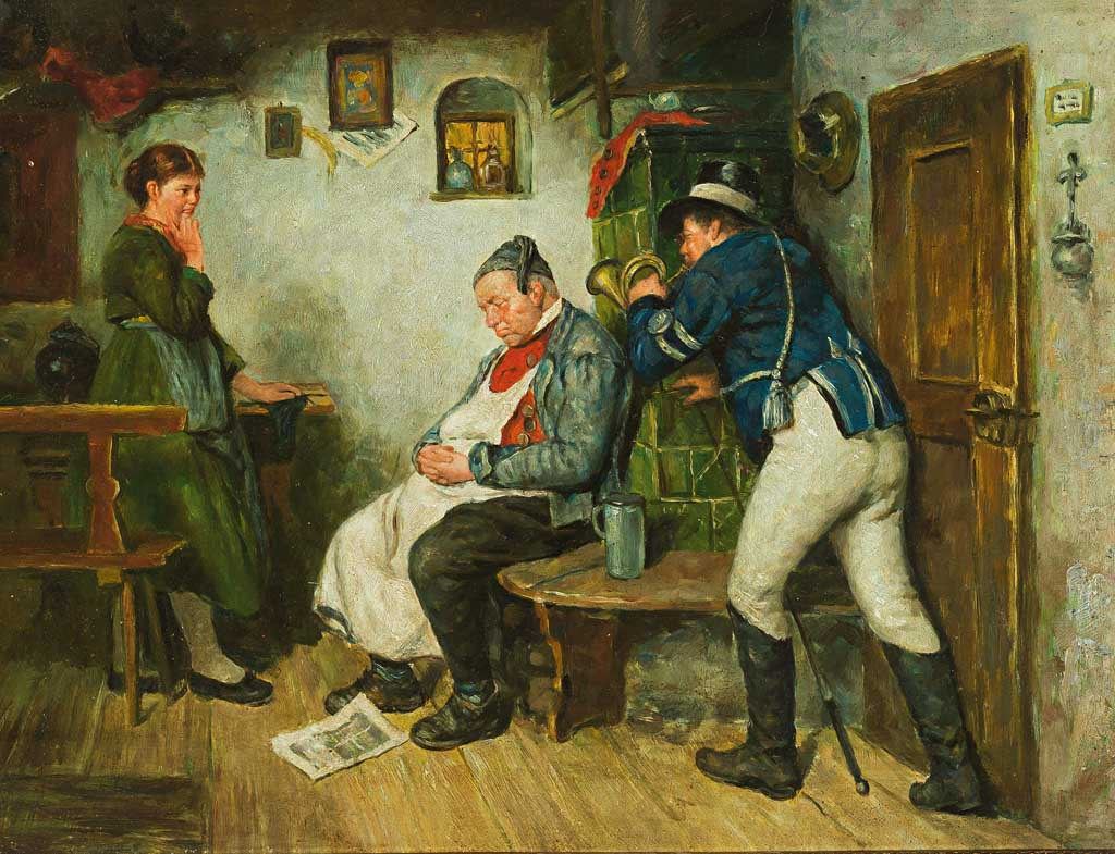 FotoPostillon bläst schlafendem Gastwirt auf der Ofenbank in das OhrvonHugo Wilhelm Kauffmann (Public Domain)