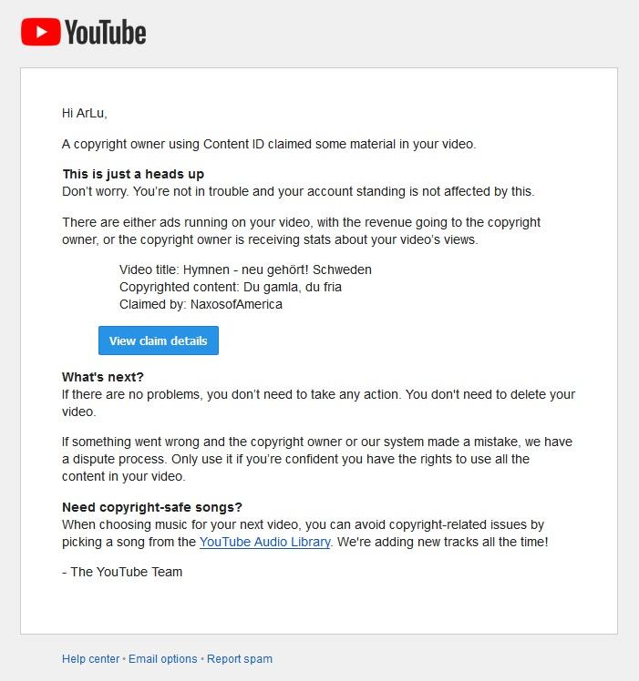 So sieht es aus, wenn man von Youtube wegen einer Urheberrechtsverletzung Post bekommt.