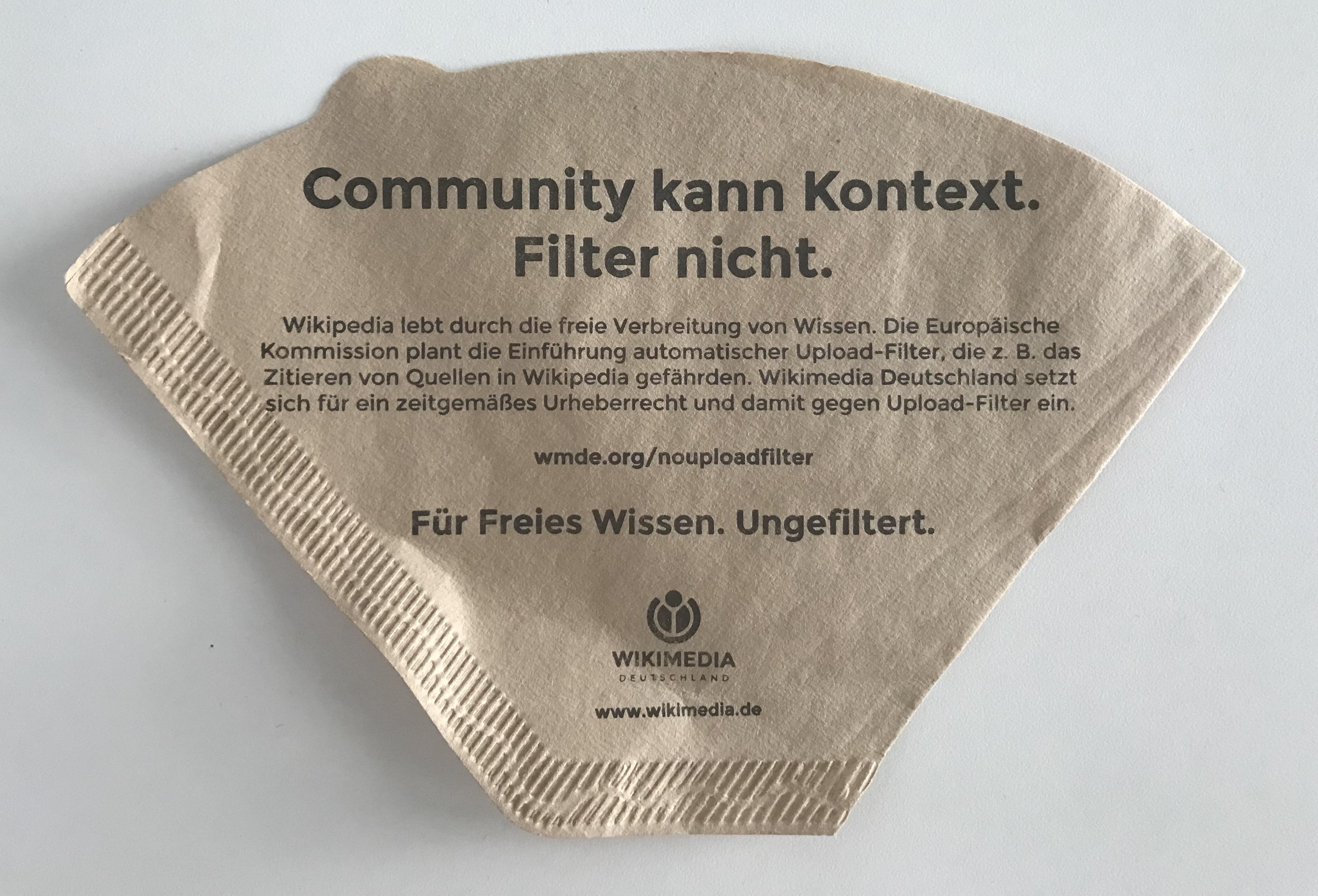 Der Upload-Filter. Informationsmaterial von Wikimedia Deutschland.