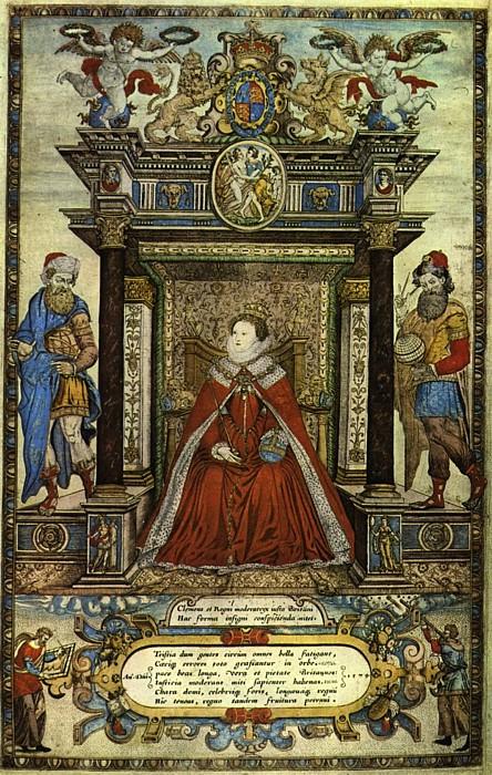 Elizabeth I of England, Titelbild des Atlas of England and Wales von Christopher Saxton (Public Domain), via Wikimedia Commons
