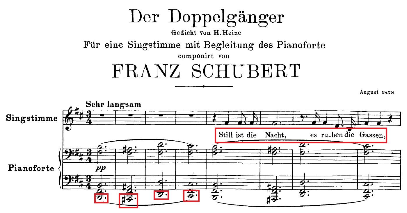 Der Beginn von Schuberts LiedDer Doppelgänger