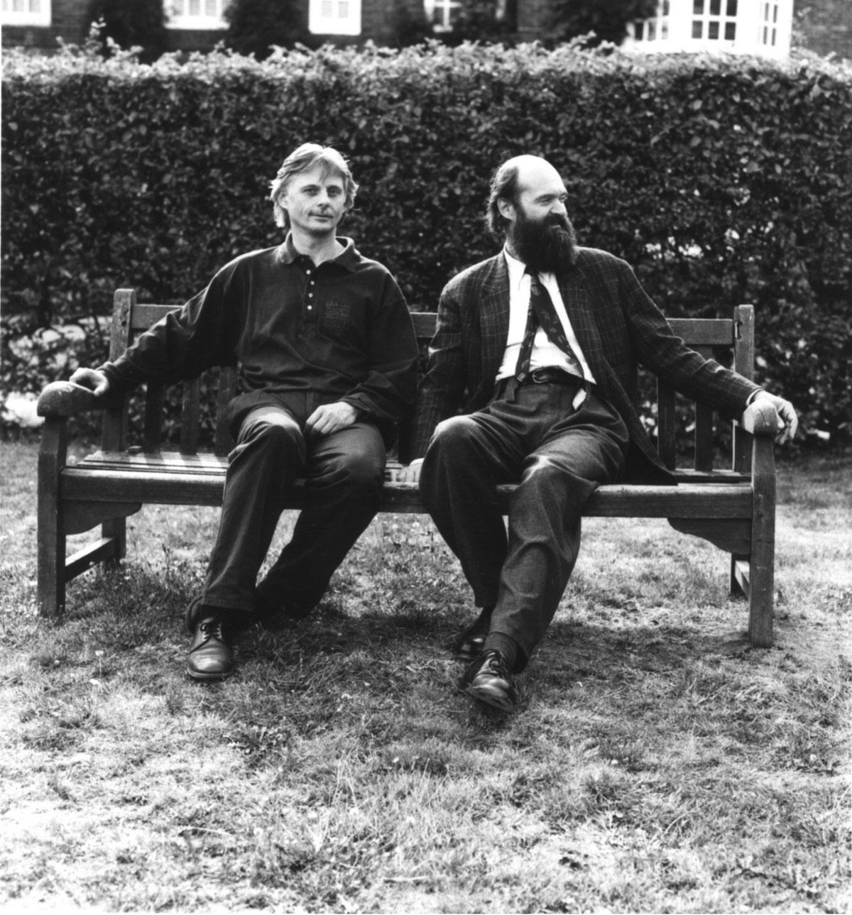 Manfred Eicher und Arvo Pärt während der Te Deum Session, Januar 1993 • Foto © Caroline Forbes