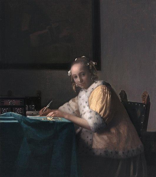 FotoJohannes Vermeer A Lady Writing a Letter (Public Domain)