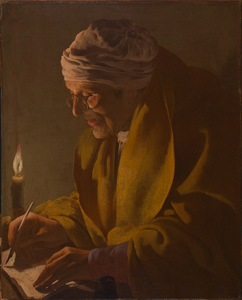 FotoHendrick ter Brugghen Old Man Writing by Candlelight (Public Domain)
