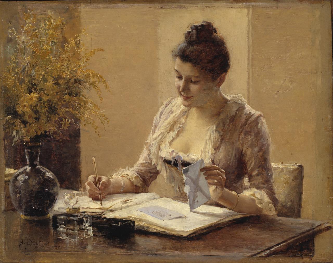 FotoAlbert Edelfelt Lady Writing a Letter (Public Domain)