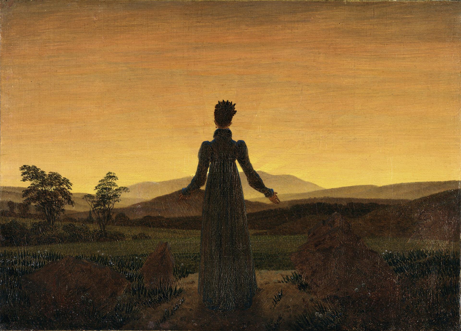 Caspar David FriedrichFrau vor der untergehenden Sonne (Public Domain)