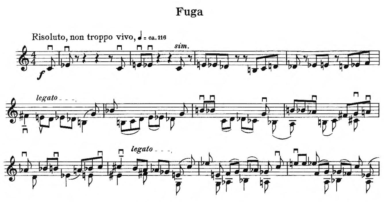 Die ersten Takte des zweiten Satzes (Fuga)